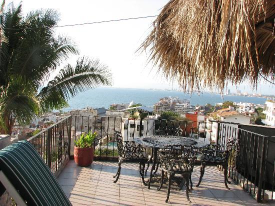 Casa Anita y Corona del Mar: view of Puerto Vallarta from patio deck