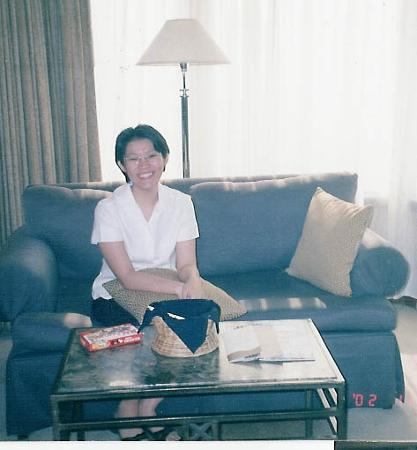 Diamond Hotel Philippines: Mrs Deen seated on the sofa of our room