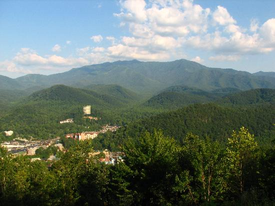 The Highlands Condominium: View of Gatlinburg and Mt LeConte from Balcony