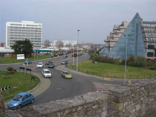 Holiday Inn Southampton: View from the city walls of the Holiday Inn and De Vere Hotels