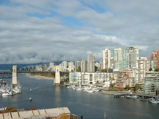 Vancouver, Canada: Looking across False Creek to Burrard Bridge from Granville Island