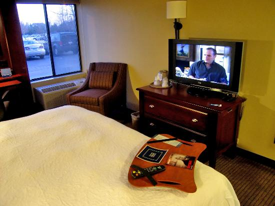 Hampton Inn Minneapolis / Eagan: Room 126 king bed and LCD high-def TV