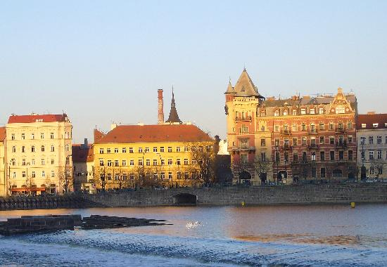 Smetana Hotel : The hotel from Charles Bridge, evening view.