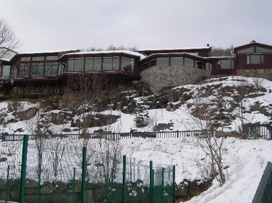 Hotel du Lac: Back of hotel, the glass area is the bar and dining room with views over the lake.