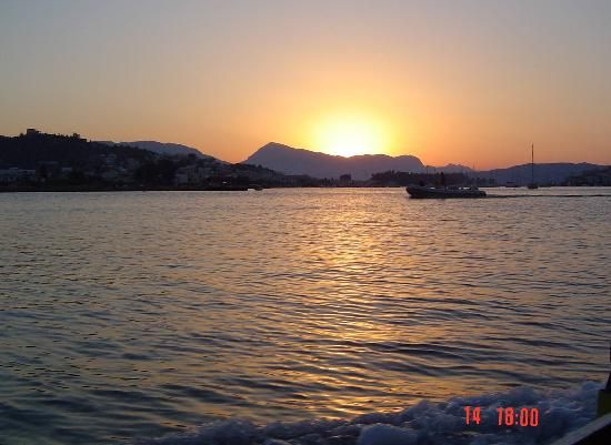 sunset over the Sleeping lady, Poros Harbour