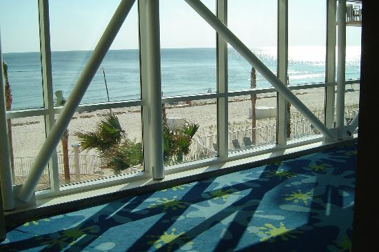 Splash Resort Condominiums: One of the lobby walkways viewing the beach