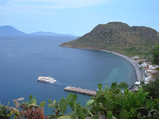 Filicudi harbour from the hotel
