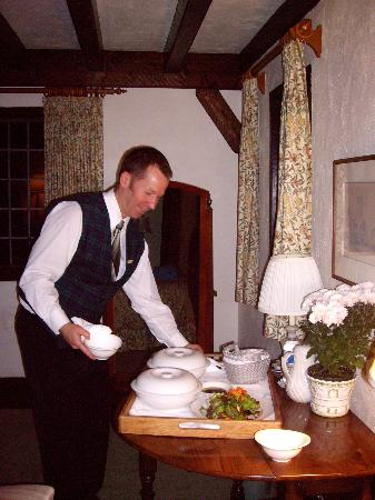 Hastings House Country House Hotel : Our fireside dinner being served
