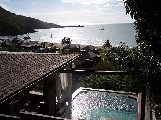Hermitage Bay: View from Hillside Cottage with Plunge Pool