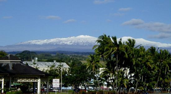 Mauna Kea looming over Hilo....