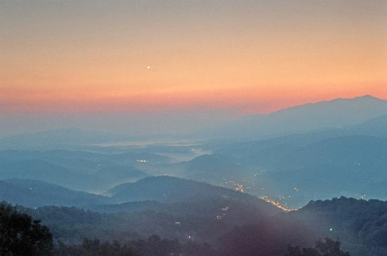 Great Smoky Mountains National Park, TN: Sunrise over Gatlinburg.  Taken from Summit Condos