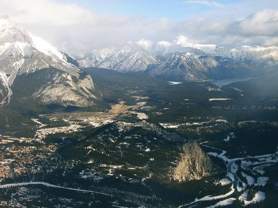 A view of Banff from the top of the Gondola