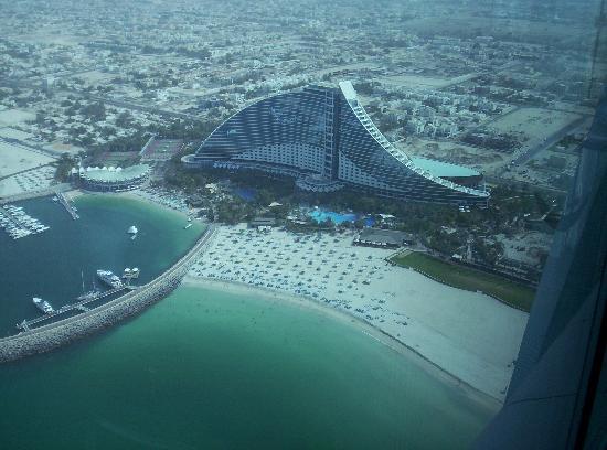 Jumeirah Beach Hotel from the Skyview Bar in the Burg al Arab