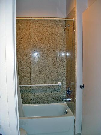 Super 8 Galveston: View of bathroom with marble tub surround, etc.