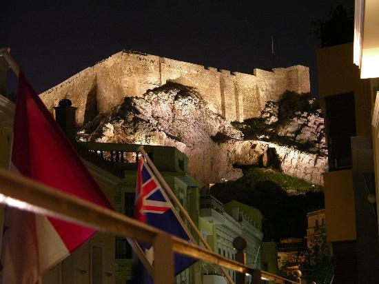 AVA Hotel Athens: Acropolis at night from the balcony