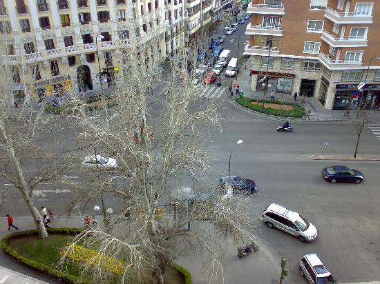 Leonardo Hotel Madrid City Center: A view from the NH Alberto Aguilera Hotel (note the busy intersection of several roads!)