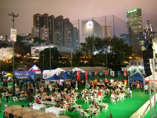 Hong Kong Stadium: Sevens village for us unlucky ones without tickets, but still a great atmosphere