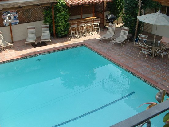 Hotel California: A view from an upstairs room looking down on the pool and the BBQ area.