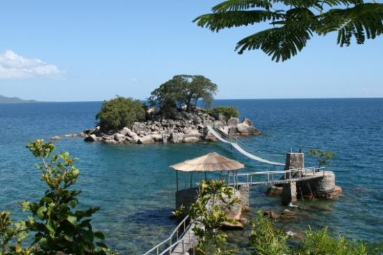 Likoma Island, Malawi: View of honeymoon Island from the bar