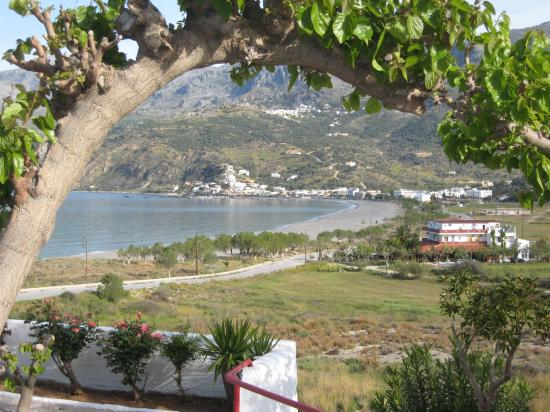 Plakias (with Sellia above) viewed from terrace of the Plakias Bay Hotel