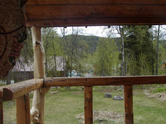 Midnight Sun Log Cabins: View out front window of cabin