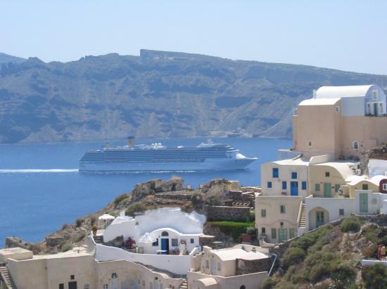 Art Maisons Luxury Santorini Hotels Aspaki & Oia Castle: Looking out to Aspaki