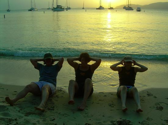 Virgin Islands Campground : Working out on Honeymoon Beach is better than working out at home!