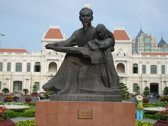 Ho Chi Minh City, Vietnam: Statue of HCM outside the Post Office