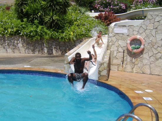 SBH Monica Beach : waterslide in full use. (take washing up liquid with you for a foam party!!)