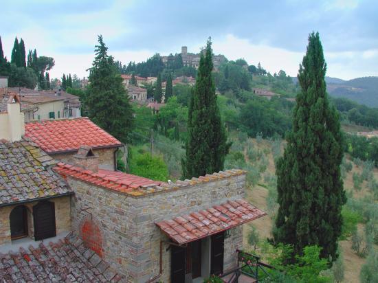 Blick auf die Landschaft hinter der Villa Sangiovese