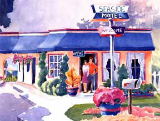 This watercolor of the Seaside Motel was done by Libby Tolley, a well-known local artist.