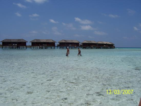 Cinnamon Dhonveli Maldives: View across the Lagoon, towards the Over Water Suite's (Look for the horny italian!)