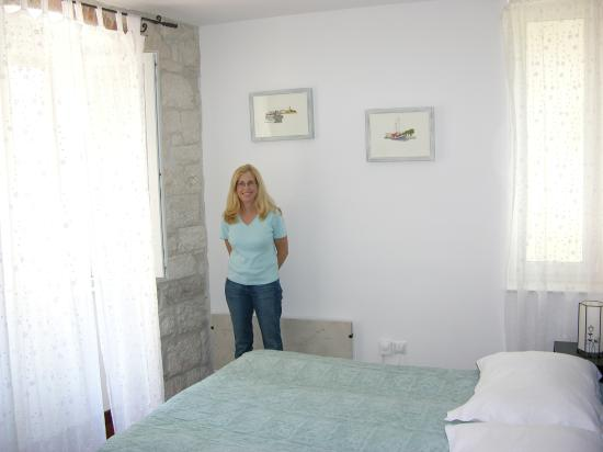 Villa Sv. Petar: our very nice room - the 2 windows looked out on the cobbled streets
