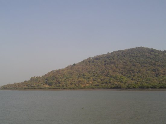 Elephanta Caves: First view of Elephanta Island