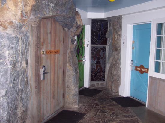 Madonna Inn Caveman Room : Caveman room bathroom with urinal waterfall in right hand