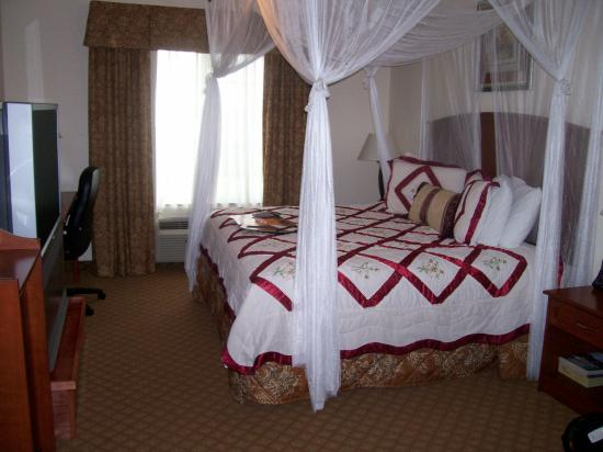 Super 8 Austin/Airport South : The Canopied Bed and not so matching Bed Spread