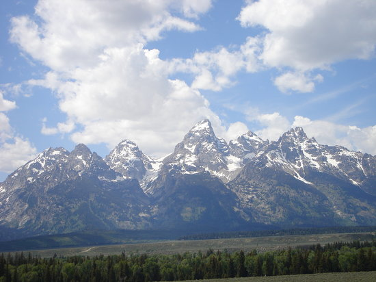 Grand Teton National Park, WY: The Tetons from a pull-out along the highway to Jackson.