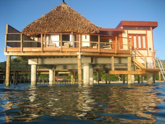 Likuliku Lagoon Resort: view of bure from water