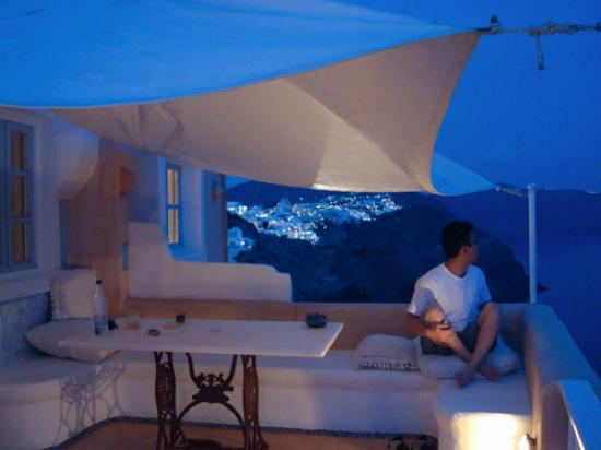 Art Maisons Luxury Santorini Hotels Aspaki & Oia Castle: Left side view from Balcony_At night time