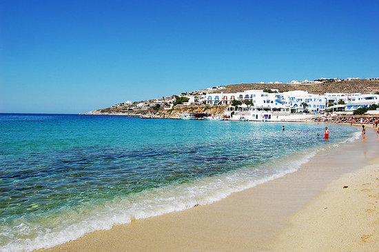 Platys Gialos, Yunanistan: Platis Yialos beach where Mykonos Palace is located