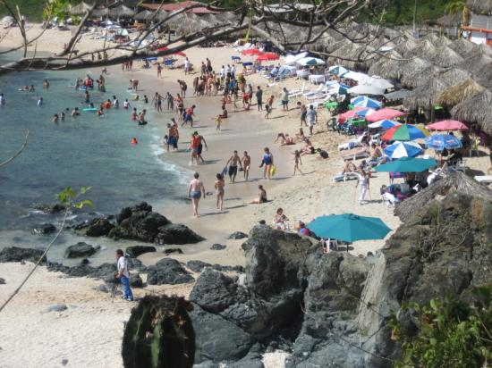 Looking down on a beach at Isla Ixtapa