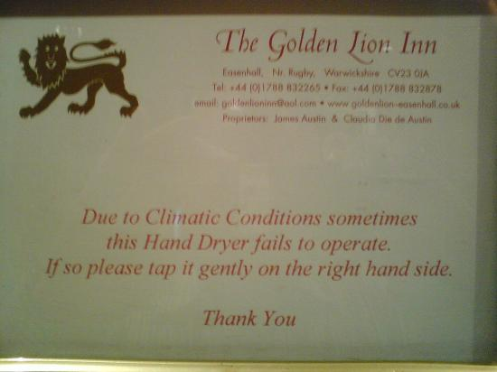 Golden Lion Hotel & Restaurant: English charm and wit in the loos