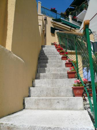 Zephyrus Boutique Accommodation: Stairs from room to courtyard