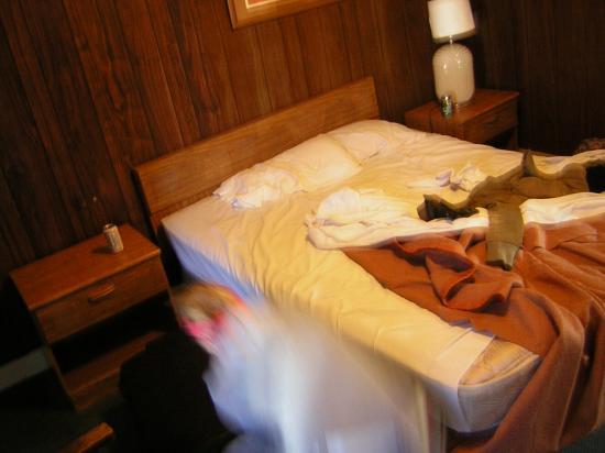 Monterey Oceanside Inn: Das schmale Bett und die alten Möbel.