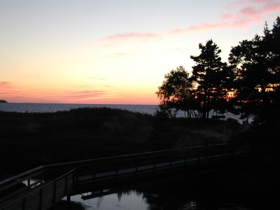 The Homestead: View from the deck of the condo, creek and sunset