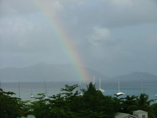 Agape Cottages: one of the three rainbows I saw on our last morning at Agape Cottage
