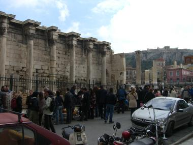 The Roman Library in Plaka. This is one minute walk from Monastiraki Sq. Acropolis and Erecthion in distance
