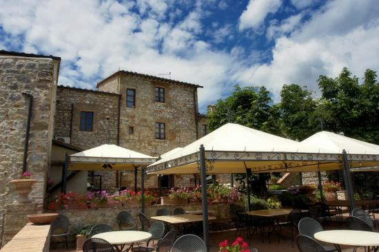 Residenza d'Epoca La Costa: Terrasse mit Blick ins ValdiChiana