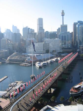 One Darling Harbour: View over Pyrmont bridge to CBD area