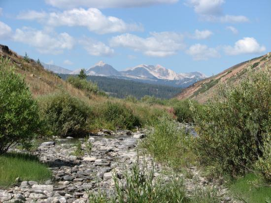 Nine Quarter Circle Ranch: The Taylor Fork Creek and mountains at the ranch